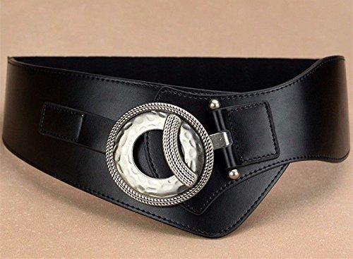 LONFENNE Women Ms lady Waistband waist width waist waist dress down garment lady's skirt leather belt. black
