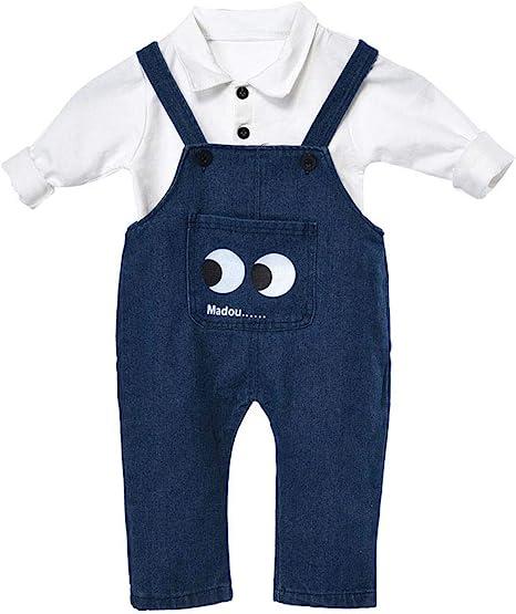 Baby Boy Ropa Algodón Kits De Disfraces Para Niños Primavera Otoño Estilo Cómoda Transpirable Camisa De Manga Larga Pantalón Ropa De Niños Camisa Liguero Pantalones Trajes Conjunto(70CM Blanco): Amazon.es: Bebé