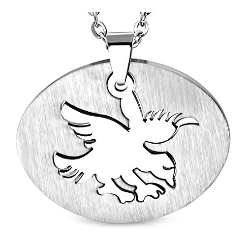 Stainless Steel 2-Part Cut-out Eagle Oval Pendant (Pendant Out Eagle Cut)