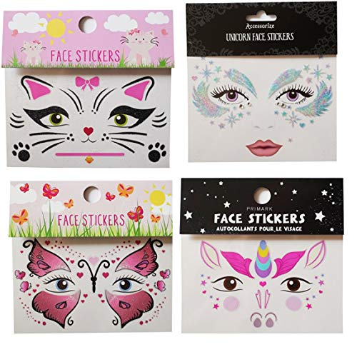 Spestyle tattoo stickers 4pcs face stickers in 1 package, it including unicorn face sticker,beautiful face sticker,butterfly face sticker and cat face sticker. ()