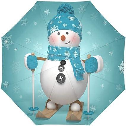 Merry Christmas Snowman Compact Foldable Rainproof Windproof Travel Umbrella