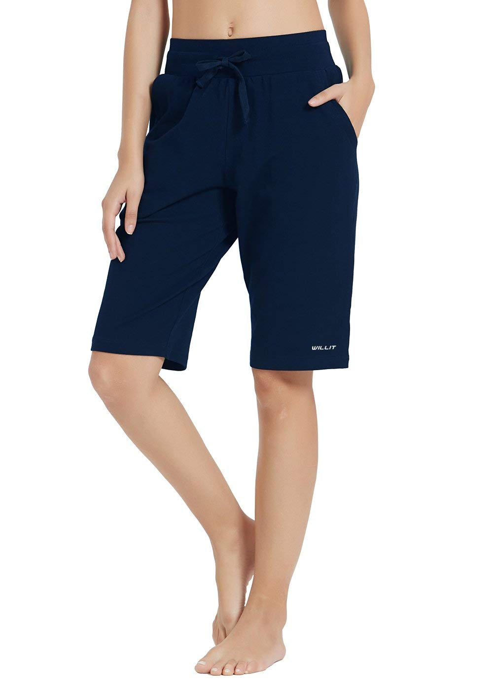Willit Womens 5 Yoga Lounge Shorts Bermuda Jersey Cotton Shorts Pajama Walking Casual Shorts Drawstring Pockets