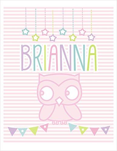 Nursery Wall Art Print Brianna Owl Art Print for Girls Baby Name Art for girls Children's Room Decor UNFRAMED, UN-MATTED Print (Brianna Art)