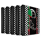 STUFF4 PU Leather Book/Cover Case for Apple iPad 9.7 (2017) tablets / Multipack (19 Pack) Design / F1 Track Flag Collection
