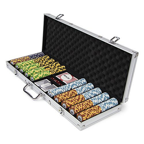 500-count Monte Carlo Poker Chips with Aluminum Case, 14 Gram, 3-Tone Chips | Includes 2 Decks of Cards & Dealer Button | Poker Sets with Case for Poker, Texas Hold ()