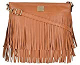 Kleio Stylish Fringes Tassel Women Girls Faux Leather Crossbody Purse Shoulder Handbag For Ladies With Zip Closure (Brown)