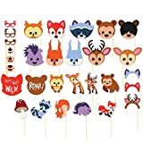 zoo animal pictures - Photo Booth Props Kit - 30-Pack Pre-Assembled Woodland Animals Themed Selfie Props Party Supplies, Ideal for Kids Birthday Parties, Baby Showers, Assorted Designs