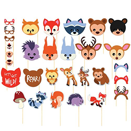 Photo Booth Props Kit - 30-Pack Pre-Assembled Woodland Animals Themed Selfie Props Party Supplies, Ideal for Kids Birthday Parties, Baby Showers, Assorted Designs - Jungle Blue Paper