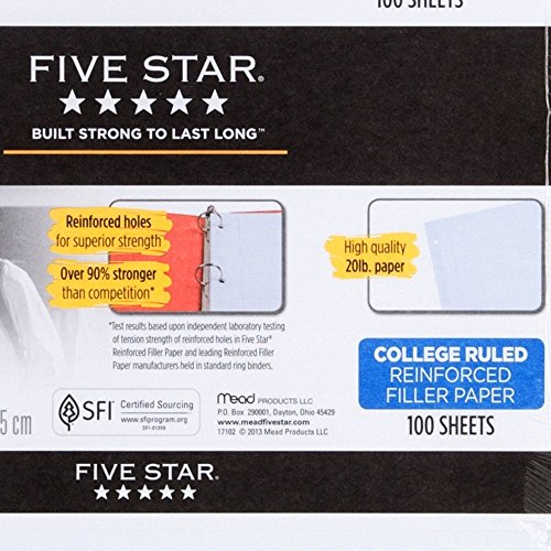 043100171027 - Five Star Reinforced Filler Paper, College Ruled, Loose-leaf, 11 x 8.5 Inch Sheet Size, 100 Sheets/Pack (17102) carousel main 2