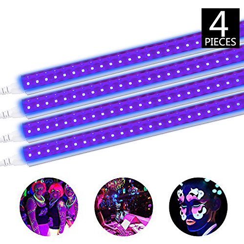 ack Light Fixture, 20W, 4FT T5 Integrated Tube lamp, Fluorescent Blacklight Bulb for Poster, Party, Club, Festivals, Led Stage Lighting with Built-in ON/Off Switch, 4-Pack ()