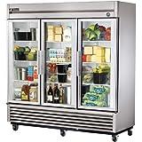 True T-Series 3-Glass Full Door Reach-In 72 Cu Ft Refrigerator
