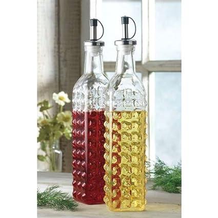 Hobnail Glass Oil And Vinegar Cruet Set Of 2 Amazonin Home Kitchen