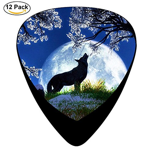 Guitar Picks Celluloid Wolf At Night Enjoy Moon 12 Pack Shape For Acoustic Guitar Mandolin Electric Guitar And -