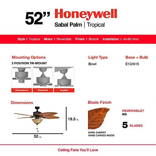 Honeywell Sabal Palm Tropical Ceiling Fan-Bronze