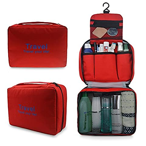 Refoss Travel Toiletry Bag, Hanging Cosmetic Kit Organizer as Women Makeup, Men Shaving Kit for (Metallo Monogram)