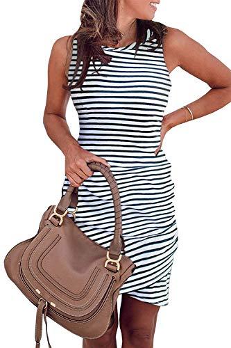 - Summer Tshirt Dresses for Women Casual Ruched Irregular Bodycon Short Mini Dress Sleeveless X-Large Stripe