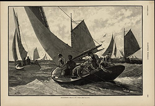 Blue Fishing Sailboats Seabirds Seascape nice 1885 great old print for display