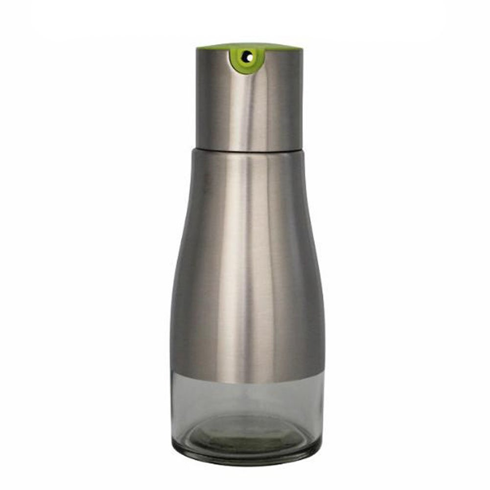 RUYA Small Kitchen Glass Bottle of Soy Sauce Vinegar Oiler Seasoning with Stainless Steel Cover (Green)