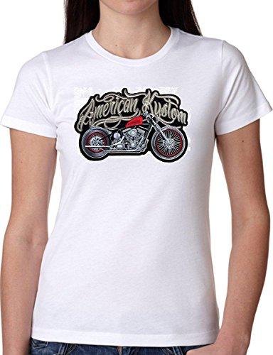 T SHIRT JODE GIRL GGG22 Z0863 AMERICAN MOTORCYCLE ROAD USA CUSTOM FASHION COOL BIANCA - WHITE L