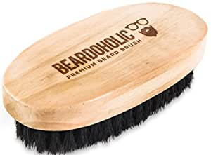 BEARDOHOLIC Boar Hair Beard Brush - Professional Barber Brush for Grooming, Detangling and Beard Health - Distributes Natural Oils - Portable, Great Gift for Bearded Men - Bamboo Wood