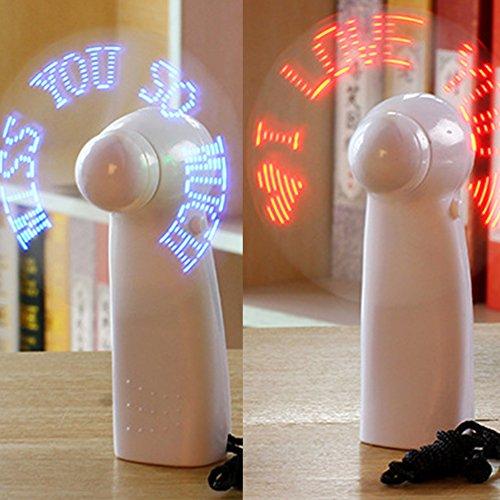 Tubwair Unique Handheld Flash LED Love Pattern Mini Fan Super Mute Battery Operated Cooling Desktop Mini Fan(Red)