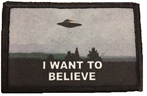 I Want To Believe X Files Morale Patch. Perfect for your Tactical Military Army Gear, Backpack, Operator Baseball Cap, Plate Carrier or Vest. 2x3 Hook and Loop Patch. Made in the USA