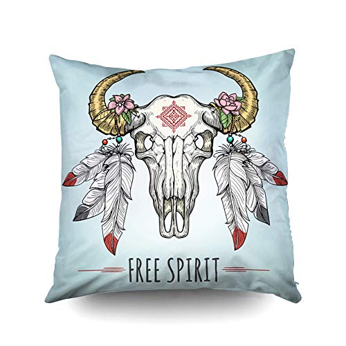 ROOLAYS Soft Pillow Case, Square Throw Pillowcase Covers 18X18Inch, Colorful Buffalo Skull Decorated by Ornament Feathers in Tribal Boho Style Both Sides Farmhouse Decor Cushion