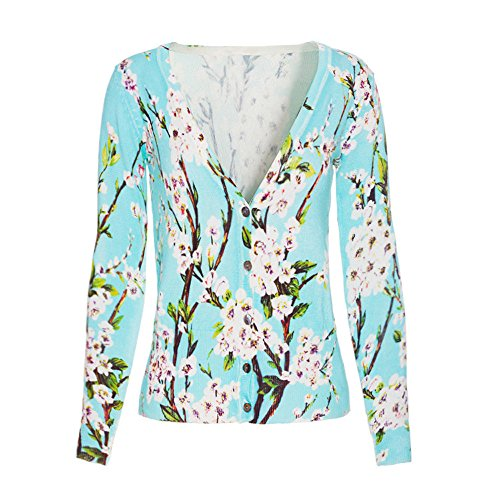 Haogo Women's V Neck Cotton Long Sleeve Flowers Printed Knitted Botton Cardigans Sweater Light Green (Printed V-neck Cardigan)