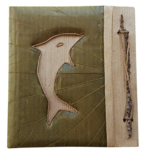 - Green with Dolphin Pressed Leaf Portrait Style Photo Album Holds 20 4x6 Photos (4861)