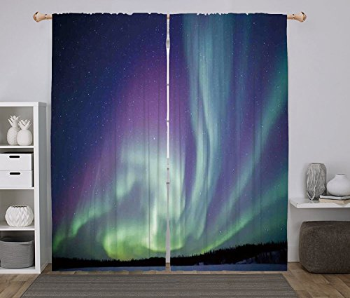 iPrint 2 Panel Set Window Drapes Kitchen Curtains,Northern Lights Exquisite Atmosphere Solar Starry Sky Calming Night Image Mint Green Dark Blue Violet,for Bedroom Living Room Dorm Kitchen Cafe by iPrint