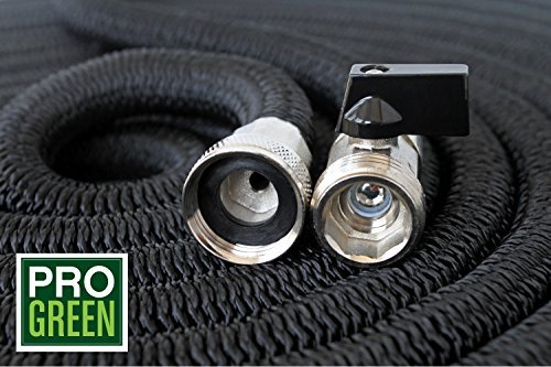 All New 2018 Heavy Duty 150 Black Expandable Garden Hose by Pro Green | Full Warranty | Nickel Plated Brass Fittings | Nozzle Included