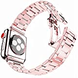 iiteeology Ultra Thin 42mm Stainless Steel Replacement Bands Compatible Apple Watch Rose Gold