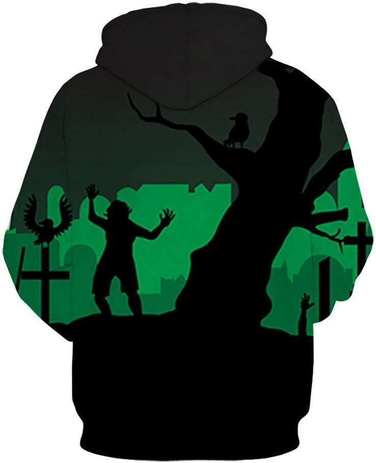 BAYY Mens Baggy Couple Halloween Digital Print Sweatshirts with Hood
