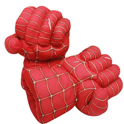 GERGER BO Plush Kids Boxing Glove Spiderman Toys Super Hero Spider Man Gloves, Smash Hands Fists Super Man Spider, Incredibles Spider-Man Costume Cosplay Dolls for Boys Girls. (1 Pair, Red)