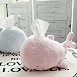 Plush Stuffed Whale Facial Tissue Holder Decor Unbreakable 12 inch by Lanyin (Pink)