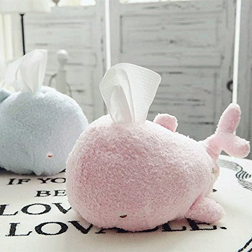 Plush Stuffed Whale Facial Tissue Holder Decor Unbreakable 12 inch by Lanyin (Pink) by lanyin