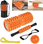 6 in 1 Foam Roller Set-Muscle Roller, Include Hollow Care Massage Roller/Muscle Roller Stick/Spiky Massage Bal
