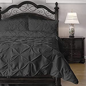Hypoallergenic Comforter Set with Pillow Shams - 3 Piece - Decorative Pinch Pleat Pintuck - Wrinkle Resistant Microfiber with Lightweight Goose Down Alternative Fill - Queen, Charcoal