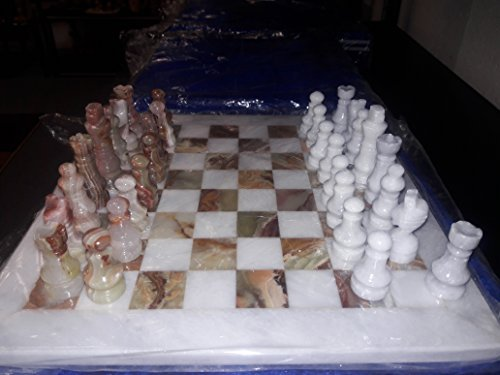 Green & White Onyx and Marble Chess Set - 16 Inch Board