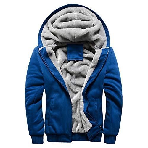 Wenchuang Cappotto Blu Invernali Giacche Caldo Felpe Zip Sweatshirt Hooded Cappuccio Con Uomo Spesso RqxRzrp