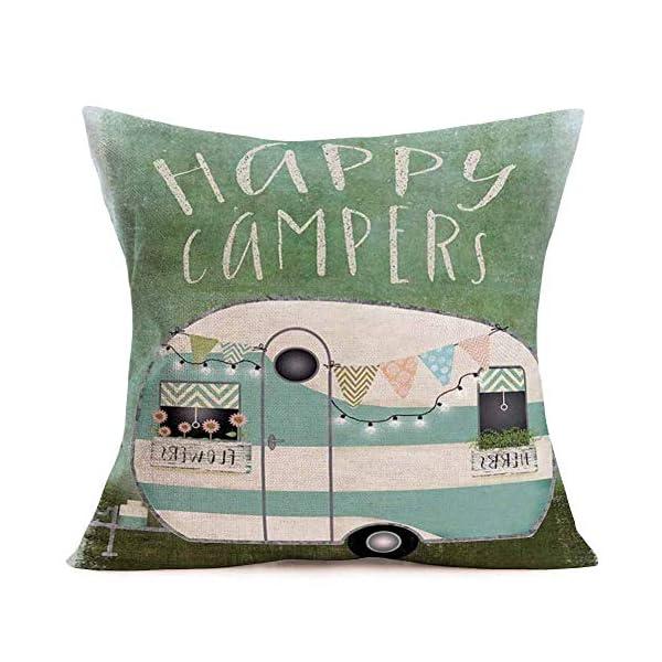 51flmGBpNqL Xihomeli Camping-Kissenbezug Happy Campers Home Decor Kissenbezüge 45,7 x 45,7 cm Blumen und Kräuter auf dem Auto…