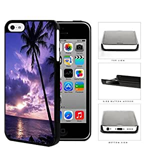 Beach Sunset Scenery With Palm Tree Silhouette Hard Plastic Snap On Cell Phone Case Apple iPhone 5c