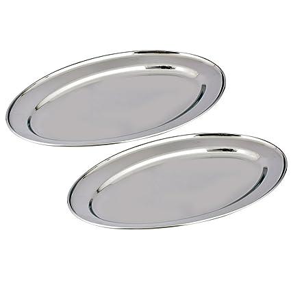 Kosma Set de 2 Bandejas ovalados de acero inoxidable. Plato de servir en el tamaño