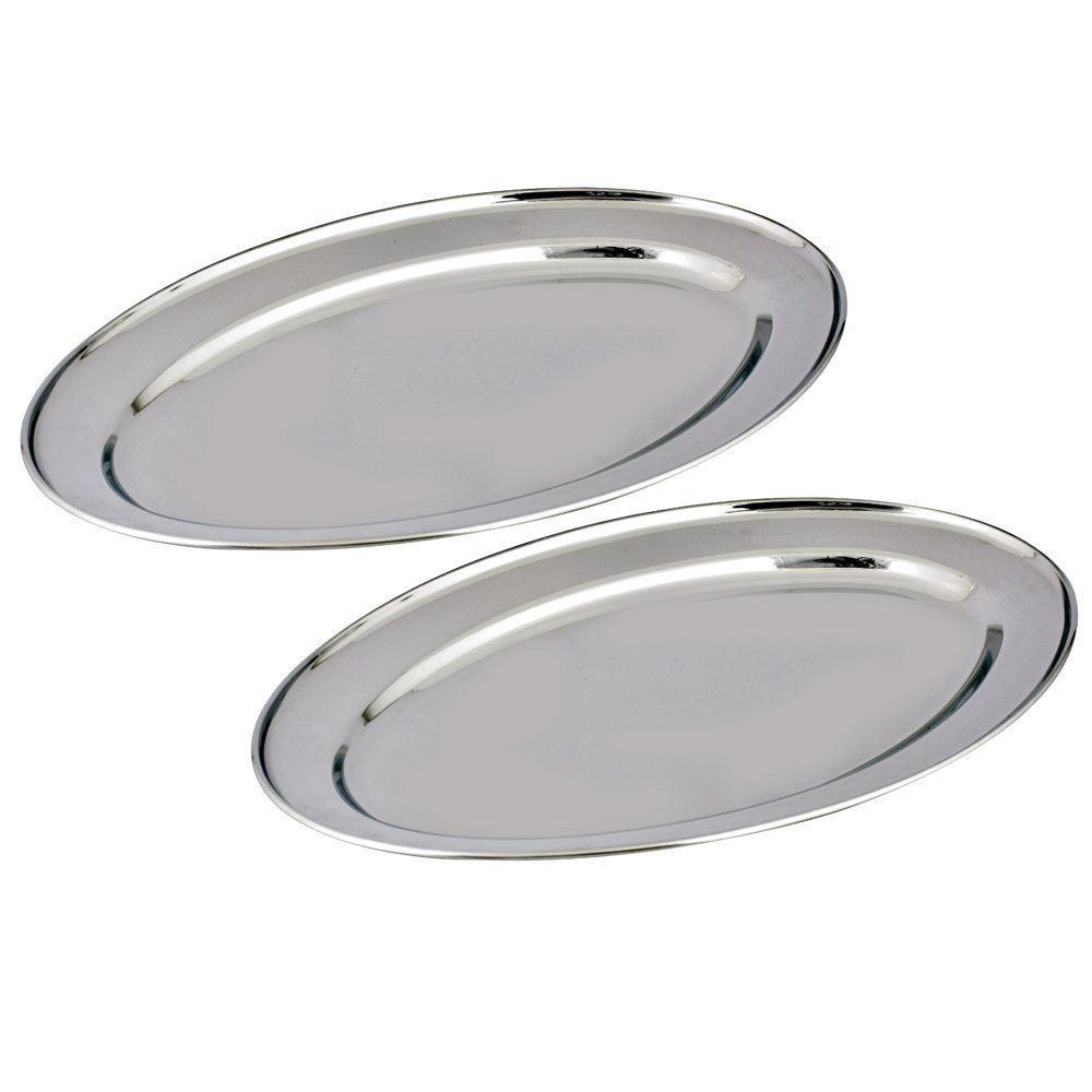Kosma Set of 2 Stainless Steel Oval Tray | Serving Tray | Plate | Oval Platters - 60cm