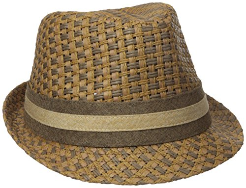 (Henschel Men's Paper Straw Fedora with Two Tone Band, Brown, Medium)