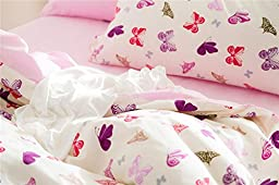 Brandream Pink Butterfly Bedding Cute Cartoon Kids Bedding Set Full Size