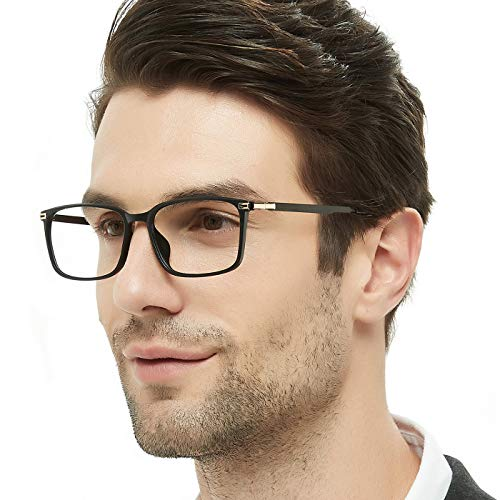 Rx Prescription Eyeglass Frame - OCCI CHIARI Rectangular Stylish TR90 Frame Metal Leg Non-prescription Fashion Clear Lens EyeGlasses For Men(Black/Gold decoration,56)