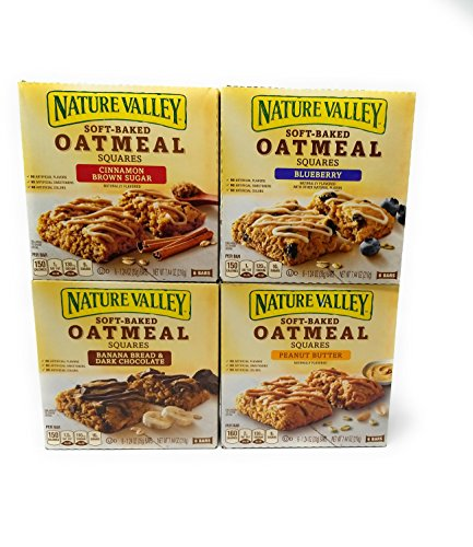 Nature Valley Soft Baked Oatmeal Bars 4 Variety Pack - Banana Bread Dark Chocolate, Blueberry, Cinnamon Brown Sugar, Peanut Butter - 24 Total Bars ()