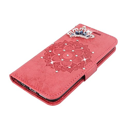 IKASEFU LG K7 Case,3D Clear Crown Rhinestone Diamond Bling Glitter Wallet with Card Holder Emboss Mandala Floral Pu Leather Magnetic Flip Case Protective Cover for LG K7,Red by IKASEFU (Image #3)
