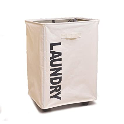 9ab909e61f9 QJR Large Rolling Laundry Cart with Wheels 1 Section Rectangular Tall Laundry  Hamper Dirty Laundry Basket